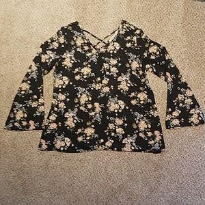Liberty LOVE black floral blouse, Large